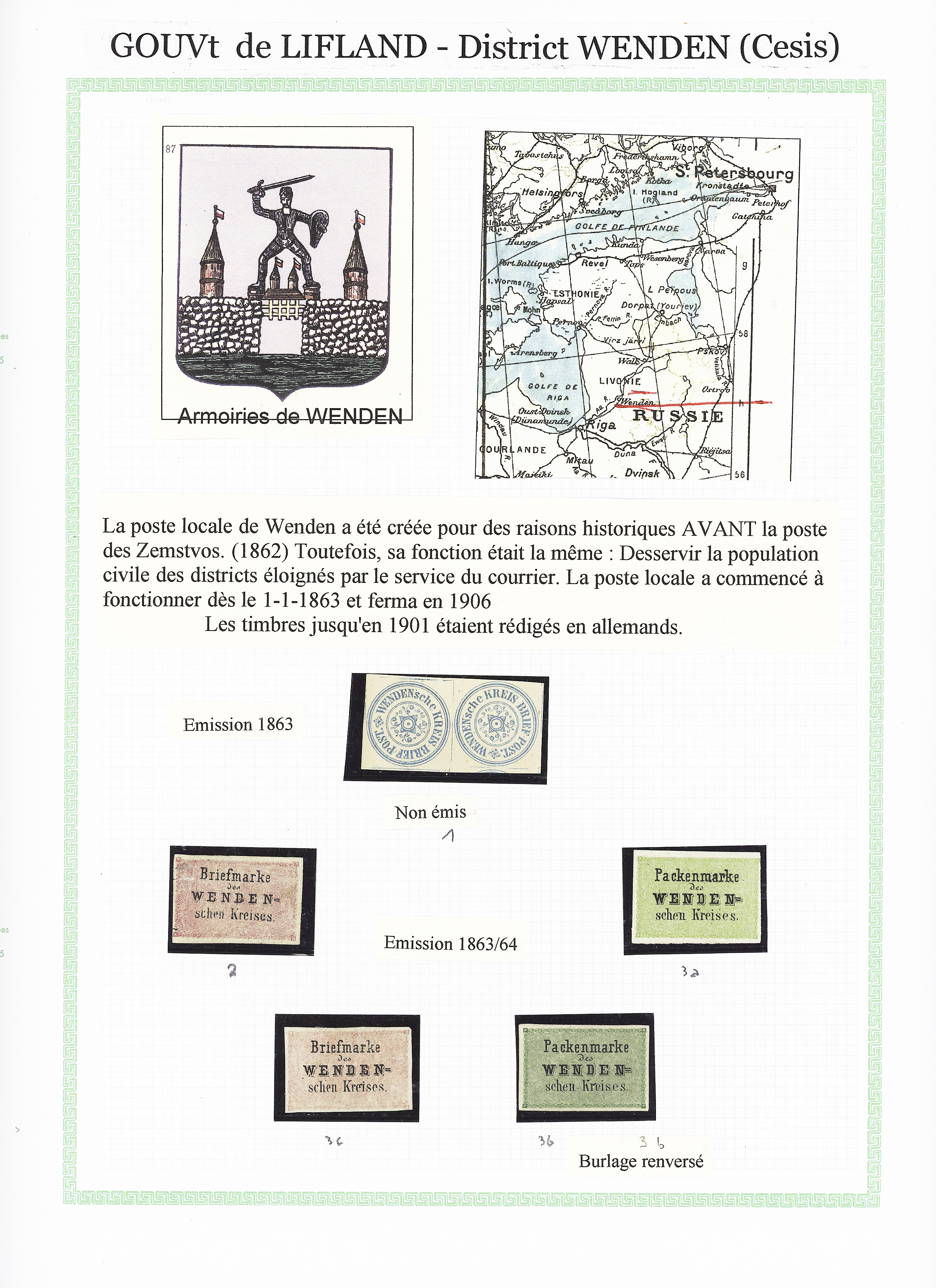 Lot 596 - Eastern Europe » RUSSIA - ZEMSTVOS » Wenden (Livland Government)  -  Le Timbre Classique SA SALE ON OFFERS N ° 37 PARIS