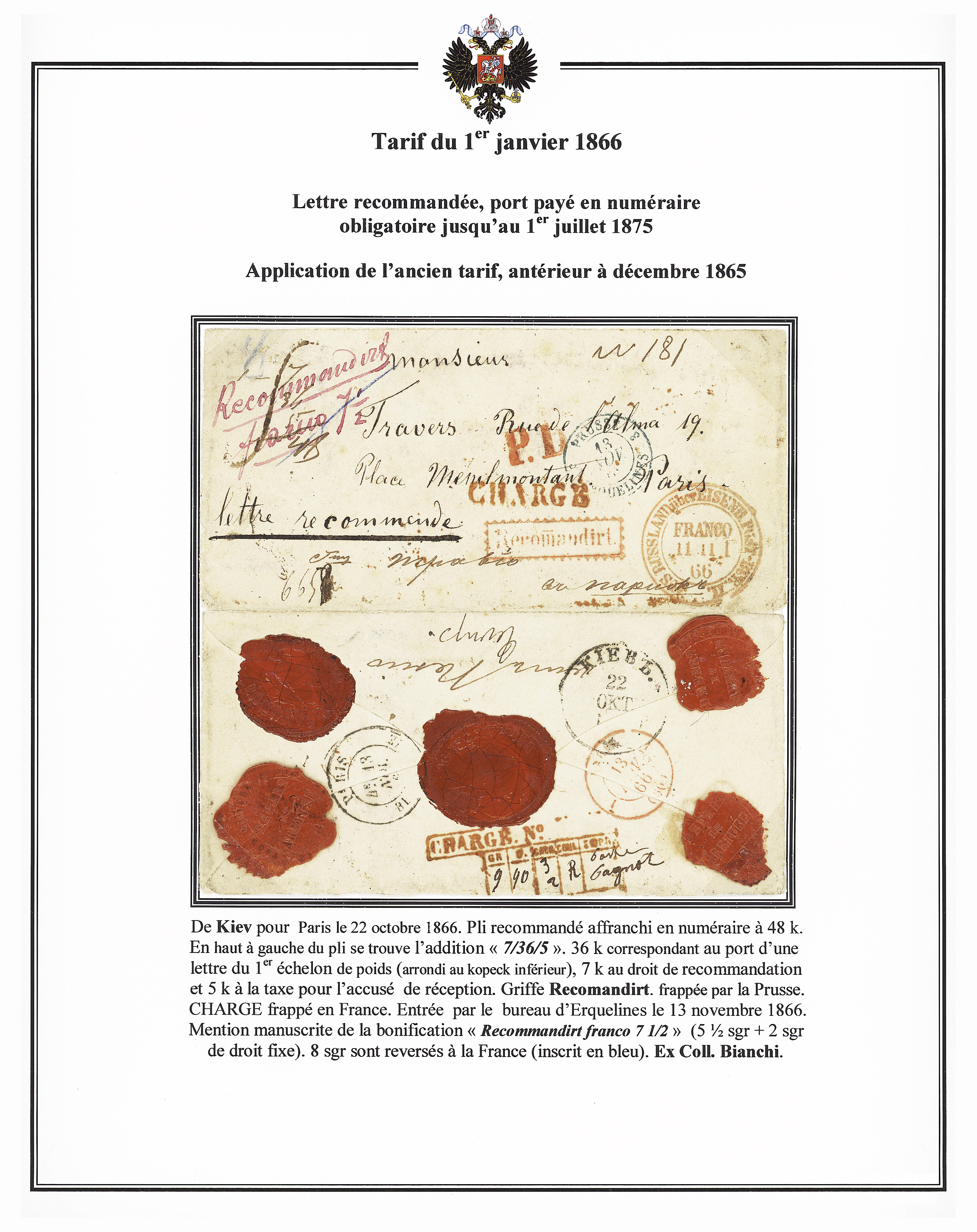 Lot 270 - Eastern Europe » Russia and USSR  -  Le Timbre Classique SA SALE ON OFFERS N ° 37 PARIS